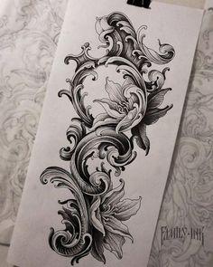 Tattoo Drawings, Body Art Tattoos, New Tattoos, Tattoos For Guys, Tattoo Sleeve Designs, Sleeve Tattoos, Filigrana Tattoo, Filagree Tattoo, Los Muertos Tattoo