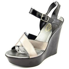 Callisto Womens Scooter Wedge Sandal Black Pewter 5 M US *** This is an Amazon Affiliate link. To view further for this item, visit the image link.