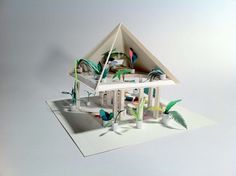"""A House for a Forest Foam and painted paper Approx. 9 x 9 x 9"""" 2011   A House for a Forest is a study for a habitable treehouse-greenhouse. It is also an interactive web-specific installation on Parallelograms. Wait for the page to load and..."""