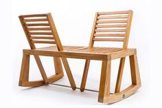 Great Take on classic rocking chair bench. Double View Bench by Chloe de la Chaise Deco Design, Wood Design, Chair Design, Furniture Design, Modern Furniture, Building Furniture, Outdoor Chairs, Outdoor Furniture, Indoor Benches