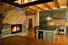 Interior, Fireplace, Hearth, Lintel, Blend, Ashlar, Step Slab, Boulders, Rustic, Adirondack, Dark, Warm, Earthtones, Weathered, Blue, Brown, Tan, Aged, American Granite™