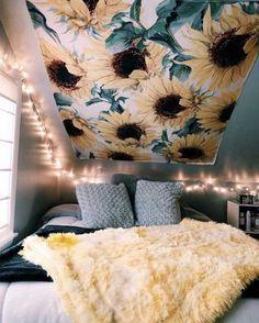 Room Ideas For Teen Girls Bedroom SunFlower Tapestry - SunFlower Tapestry for Room Ideas Bedroom, Bedroom Themes, Teen Bedroom, Bedroom Decor, Bed Room, Bedroom Designs, Dorm Room, Yellow Room Decor, Sunflower Room