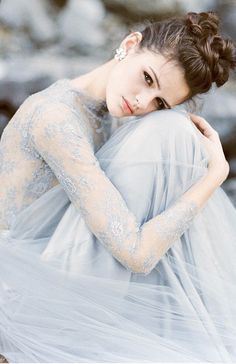 Pastel Wedding Dresses, Bridal Dresses, Wedding Gowns, Wedding Dress Blue, Ice Blue Dress, Wedding White, Lace Wedding, Ice Blue Weddings, Simple Weddings