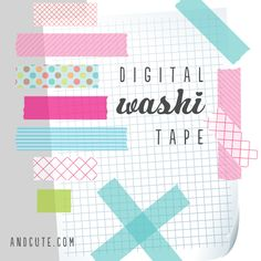 Modern and Cute Digital Washi Tape for all DIY and Scrap booking projects. Planner Stickers, Printable Stickers, Printable Planner, Printables, Free Printable, Foto Transfer, Clip Art, Masking Tape, Washi Tapes