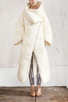 Maison Martin Margiela for HM, Duvet Coat, black/silver mirrorball leggings, beige Perspex wedges, women's style, designer collaboration, am...