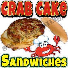 "24"" Crab Cake Sandwiches Concession Cart Food Truck Restaurant Menu Sign Decal  #SolidVisionStudio"