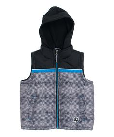 Loving this iXtreme Charcoal & Blue Stamp Print Puffer Vest - Toddler & Boys on #zulily! #zulilyfinds