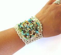 crochet beaded cuffs | Beaded+cuff+bracelet+crochet+bracelet+freeform+by+CoffyCrochet,+$42.00