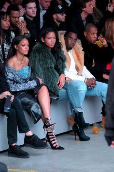Celebs at NY Fashion Week: Beyonce & Jay Z, Rihanna, Kanye West, Kim Kardashian, Anna Wintour Mode Rihanna, Rihanna Style, Rihanna Fenty, Rihanna 2014, Yeezy Fashion, Adidas Fashion, Fashion Week, Fashion Show, Fashion Outfits