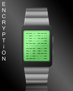 """""""Encryption"""" is one of my concept watch designs on the Tokyoflash blog. Don't worry you don't need to know Morse code. If you just ignore the dots, you'll see that the remaining dashes form 4 digits giving the time or date. In this case it's 15:04 or 15/04."""