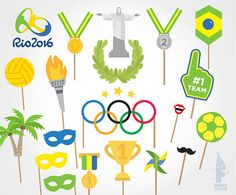 Printable Olympics Photo Booth Props - RIO 2016 Photobooth Props - Brasil Summer 2016 Printable Props - Olympic party - FUN - Medals