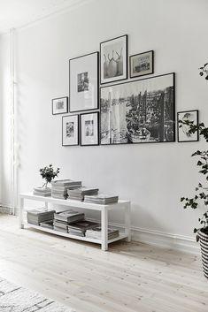 Industrial living room gallery wall