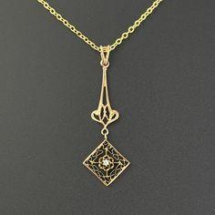 Vintage 10K Rose Gold Diamond Lavalier Edwardian Necklace