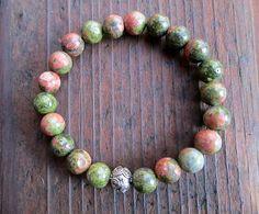 FREE SHIPPING Unakite Bracelet Gemstone Bracelet by amariesshop