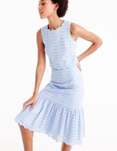 Scalloped Eyelet Crop Top and Tiered Skirt