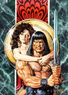 Joe Jusko, 1989 Cover art for Savage Sword of Conan Red Sonja, Comic Books Art, Comic Art, Caricature, Vikings, Marvel Comics, Graphic Novel Art, Savage Worlds, John Buscema