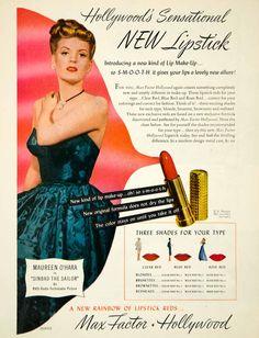 1946 Ad Vintage Red Lipstick Max Factor Hollywood Maureen O'Hara Movie YRM1