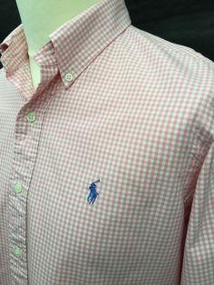 Polo #RalphLauren #Mens #Shirt Medium Custom Fit Pink White #Gingham Checked Cotton #menswear #mensfashion #mensstyle