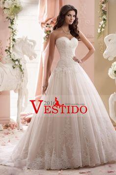 2016 cariño una línea de vestidos de boda de tul con apliques