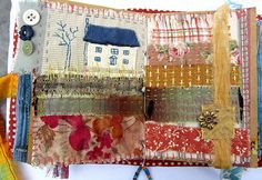 Handmade fabric journal by Ro Bruhn Handmade Journals, Handmade Books, Handmade Crafts, Handmade Rugs, Fabric Book Covers, Fabric Books, Textiles Sketchbook, Fabric Journals, Art Journals
