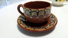 1970s Bulgarian Troyan Feather Redware Coffee Cups by Bluckys