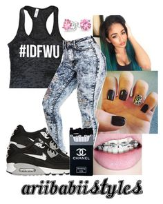 """""""Teaalll hairr @ariibabii"""" by theylovearii ❤ liked on Polyvore featuring NIKE, Chanel and Bling Jewelry"""