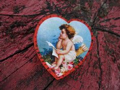 Cupid Wood Valentine Heart Brooch Vintage Style
