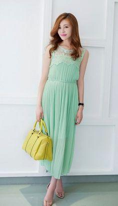 Feminine Summer Dress. Lace Trim Pleated Green Chiffon Dress | GlamUp - Clothing on ArtFire