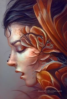 Artist: Jennifer Healy {fantasy surreal beautiful female head woman face profile portrait painting} Ethereal !!