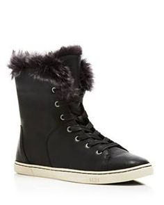 Ugg Croft Sheep Cuff High Top Sneakers - 100% Exclusive - Black