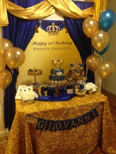 Royal blue and gold party decorations new see printable prince themed crown backdrop birthday – danburryhardware Prince Birthday Theme, King Birthday, 1st Boy Birthday, 1st Birthday Parties, Golden Birthday, 1st Birthdays, Baby Shower Parties, Baby Shower Themes, Baby Boy Shower
