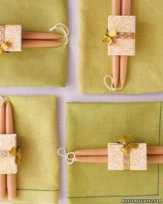 A simple, thoughtful favor of beeswax candles and personalized matches