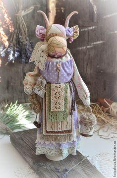 "Купить кукла-оберег Коза ""Душечка"". - хлопок, лен, коза, душечка, народная кукла"