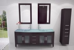 "63"" Grand Regent Large Double Sink Modern Bathroom Vanity Cabinet with Glass Top JWH Imports http://www.amazon.com/dp/B008FEEKIQ/ref=cm_sw_r_pi_dp_lsbjub1ARR7N1"