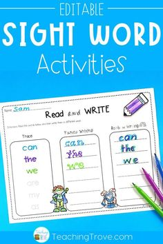 Create sight word activities that target the exact words your kindergarten or first grade students need to learn. Use your own list words to add 3 to 10 words to each activity. Your struggling readers can do the same activity as your advanced ones. These fun printables are perfect for literacy centers, partner work, morning work, extra activities for early finishers, or homework. #sightwords #reading