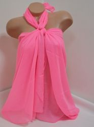 Памучно парео в розов -неонов цвят, Онлайн магазин Моник