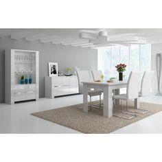 Voici une salle à manger en laquée blanche qui vous offre plusieurs possibilités au niveau du choix des dimensions de la table, ainsi que du buffet.Pour encore plus de liberté commandez les chaises que vous souhaitez
