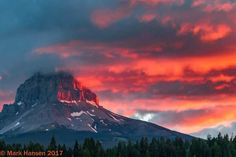 sunrise on Crowsnest Mountain on June 9,2017 Crowsnest Pass, AB