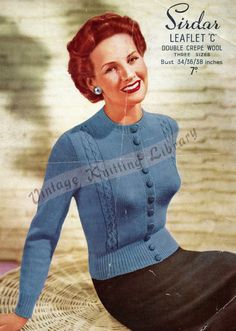Items similar to Vintage Women's Cardigan, knitting pattern. on Etsy Knitting Ideas, Knitting Patterns, Crochet Patterns, Women's Cardigans, Cardigans For Women, 1950s Fashion, Girl Fashion, Big Project, Vintage Knitting