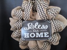 Bless this Home wreathwelcome wreathburlap by SpiceyBirdCreations, $55.00