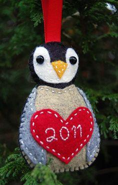 """""""Little Chick"""" Felt Penguin Ornament by Jenelle@E, via Flickr"""