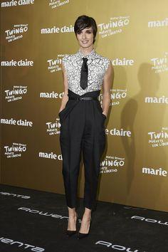 Paz Vega was menswear-chic in a monochrome jumpsuit, complete with a necktie, at the Marie Claire Prix de la Moda.