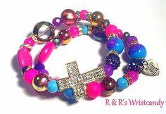 Pink Purple and Blue Cross Bracelet by RandRsWristCandy on Etsy, $9.00