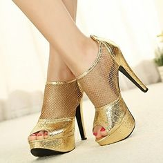 Gold Back Zipper Pumps