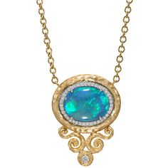 Pre-owned Pamela Froman Lightning Ridge Black Opal Diamond Gold... ($9,850) ❤ liked on Polyvore featuring jewelry, necklaces, chain necklaces, yellow gold chain necklace, gold star necklace, graduation necklace, diamond chain necklace and 18k diamond necklace