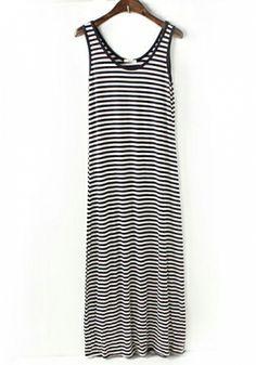 Fashoin Enchating Fashionable Dizzying Blending round neck Sleeveless Striped Fashion Dresses