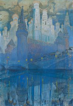 Leonid and Rimma Brailowsky (Russian, and Moscow Blue. Oil on canvas, 85 x 59 cm. Illustrations, Illustration Art, Edmund Dulac, Russian Art, Russian Style, Cityscape Art, Picasso, Pretty Art, Art And Architecture