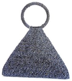 Handmade Beadwork Triangular Clutch- Grey: GiftPiper.com It has a cute triangular shape, and a bangle shaped bead handle that can be worn on the wrist.