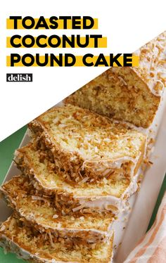 This Toasted Coconut Pound Cake will change your life. Get the recipe at Delish.com. #cake #recipe #easy #easyrecipe #baking #coconut #cakes #dessert #dessertrecipes