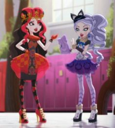 Ever After High- Lizzie Hearts and Kitty Cheshire Ever After High, Halloween 2017, Holidays Halloween, Lizzie Hearts, Ever After Dolls, Childhood Stories, Cartoon Monsters, Mattel, Crafty Kids
